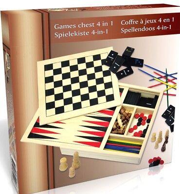 Spielbox Reisespiele Spielesammlung Mikado Domino Schach Dame Box Spielset Holz  (Holz Domino Set)