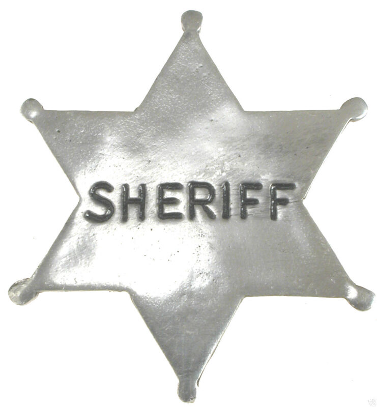 SHERIFF BADGE, OLD WEST, STAR, SILVER, WESTERN, VINTAGE  (Style#10)