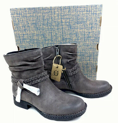 Born Womens Ouvea Leather, Grey Ankle Boots; Size: US 6M