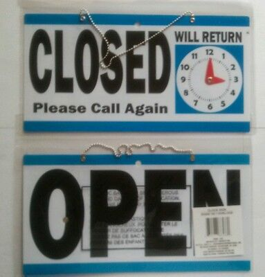 Reversible Blue Open Closed Sign With Will Return Clock Hang Sign Wchain