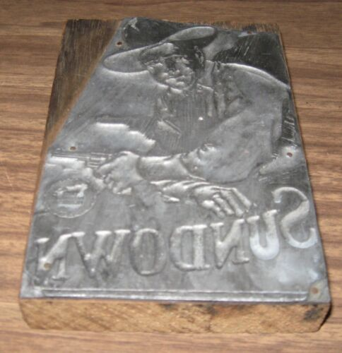 RARE 1924 WESTERN SILENT FILM SUNDOWN FIRST NATIONAL PICTURES PRINTING BLOCK