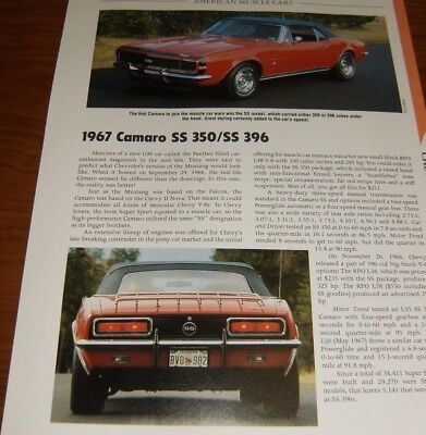 - ★★1967 CHEVY CAMARO SS 396 350 SPECS INFO PHOTO 67 68 69 COPO Z28 RS CONVERTBLE★