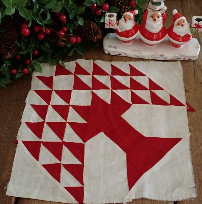 Antique Christmas Perfect! Red & White Pine Tree Quilt Block 11x11