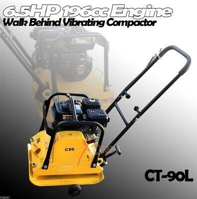 6.5hp 196cc Engine Walk Behind Vibrating Compactor Rammer Asphalt Soil Wwheels