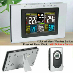 Wireless Weather Station Forecast Alarm Color Clock Temperature w/Outdoor Sensor