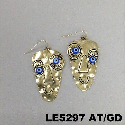 (Unqiue Gold Finish Picasso Evil Eye Face Design Drop Dangle Hook Earrings )