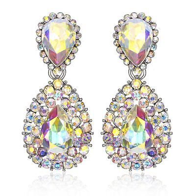 Halo Drop Austrian Crystal Rhinestone Chandelier Dangle Earrings Studs E117a AB
