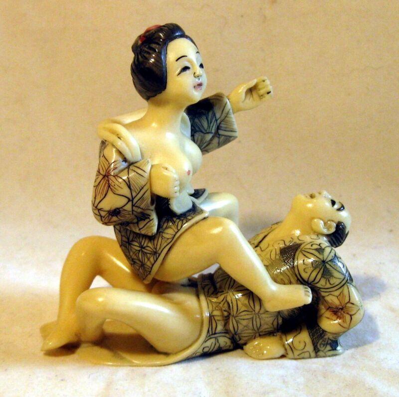 Japanese Asian Vintage Netsuke Style erotic figurine Set of two