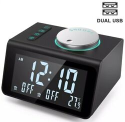 ANJANK Small Alarm Clock Radio with FM Radio,Dual USB Charging Ports,Temperature
