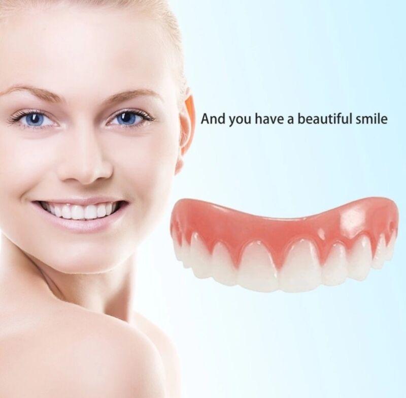 Snap On Perfect Smile White Teeth False Upper Denture Flex Temporary Fix Veneers
