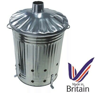 🔥 Medium Metal 60L Garden Incinerator Burning Fire Bin Rubbish Wood Burner 🇬🇧