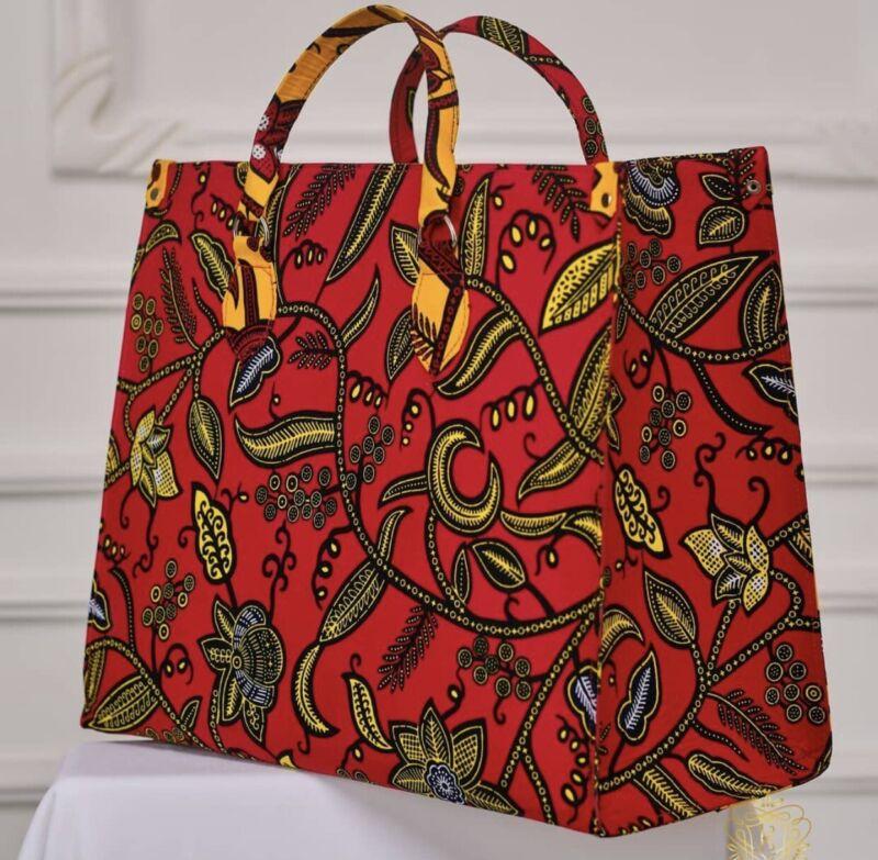 Women double African print Ankara handbag