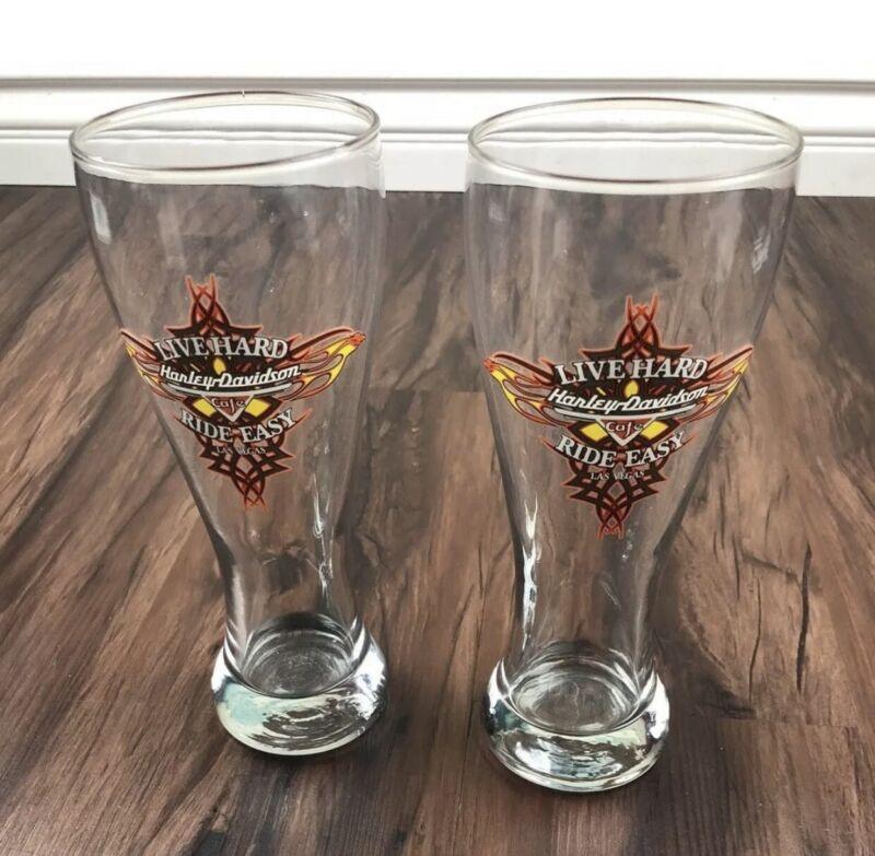 Harley Davidson Cafe Las Vegas Beer Glass 2 Hurricane Pilsner