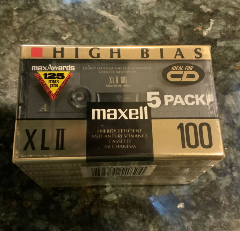 Maxell High Bias XLII 100 Min Blank Audio Cassette Tapes Lot of 5 Sealed