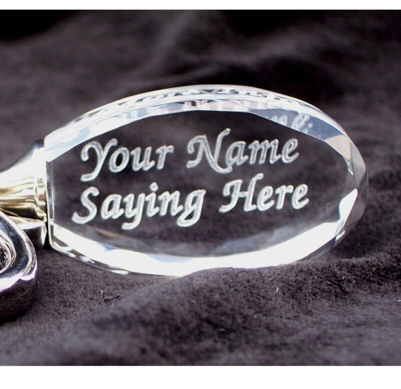 6 - PERSONALIZED Oval Crystal Key Chain and Ring 2 Lines - Custom Laser Engraved