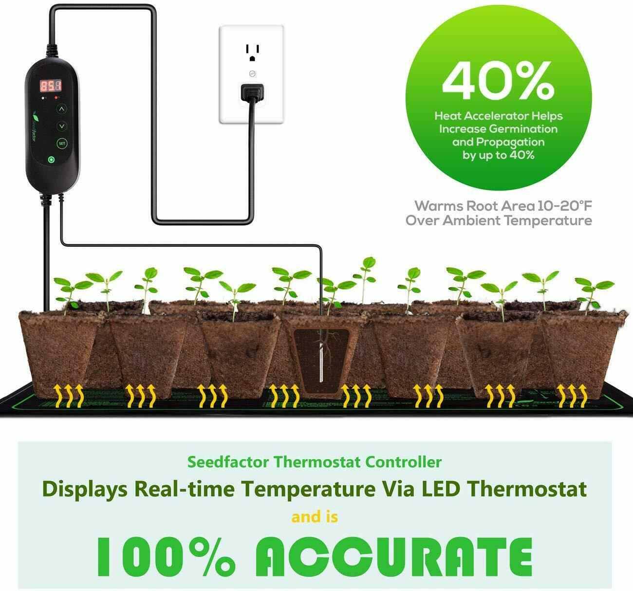 Seedfactor Digital Heat Mat Thermostat Controller for Seed Germination 50-108°F