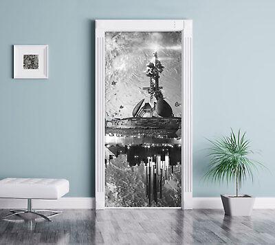 chiff vor der Erde Kunst B&W - Türaufkleber 200x90cm Türtape (Raumschiff Kunst)