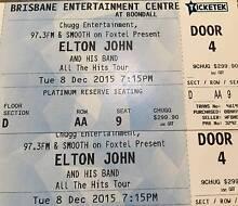 2 Elton John tickets Brisbane Tue Dec 8th Platinum Reserve Row AA Palmview Maroochydore Area Preview