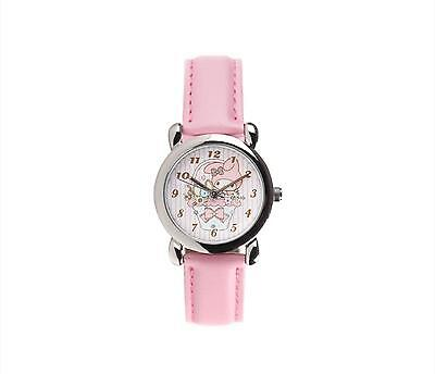 My Melody Kids Analog Watch Basket Light Pink faux leather with hints of glitter
