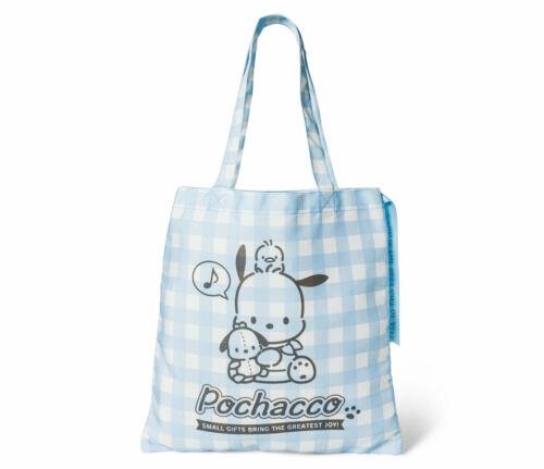 Sanrio Pochacco dog and Friends Tote Bag Blue Plaid