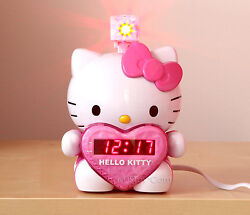 NEW LED Hello Kitty Projection Alarm Clock Radio Digital Tuning+Battery Back up