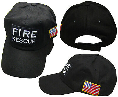 Fire Rescue Black Patch USA Flag On Side Embroidered Baseball Hat Cap (RUF) ()