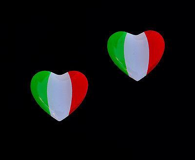 2x Herz Flagge Tricolore 3D Emblem Aufkleber Italien Italy Italia #Tri
