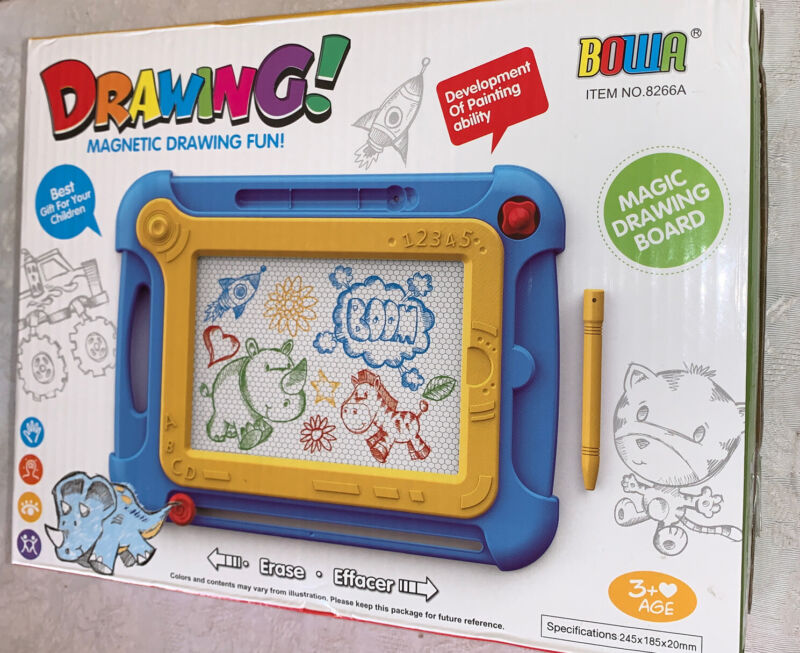 Bowa Magic Doodle Board Mess Free Magnetic Drawing Erase Board NEW Kids Ages 3+