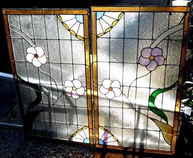 Windows Lead light Pair, Floral Pattern 94 x54.5 Good Condition