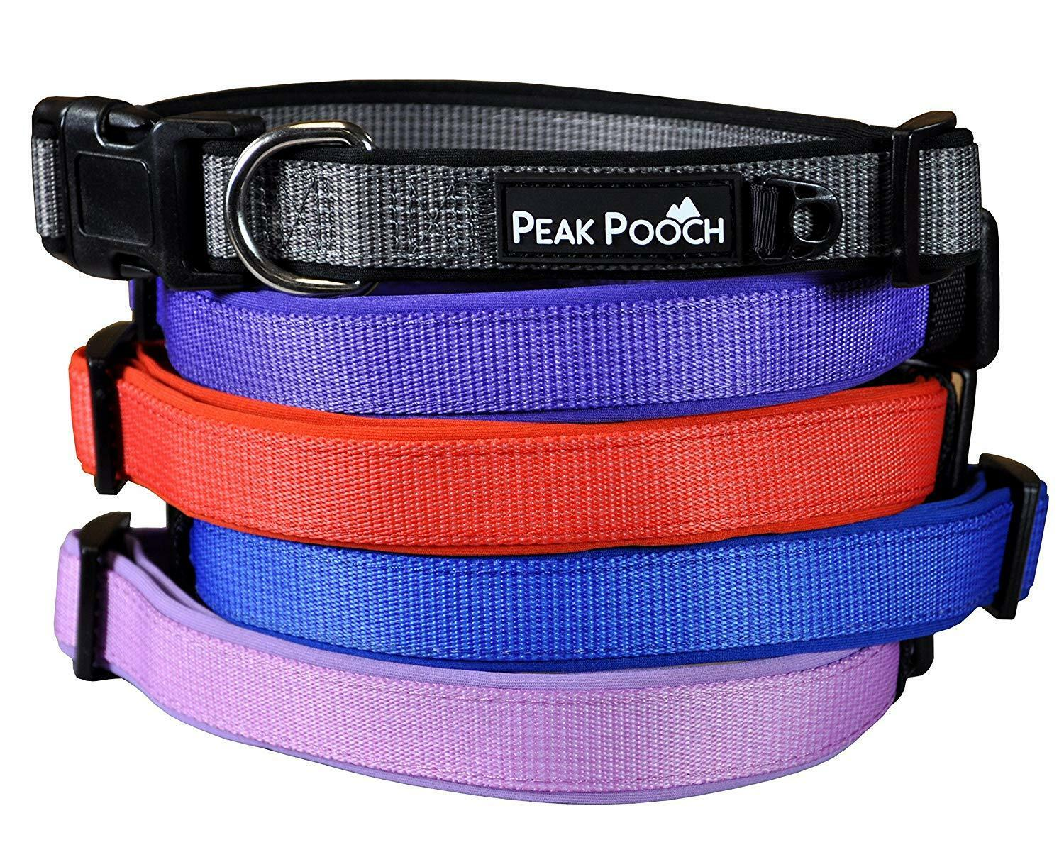 Peak Pooch Premium Designer Dog Collars Soft Padded Adjustab