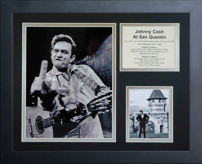 11x14 FRAMED JOHNNY CASH LIVE AT SAN QUENTIN STATE PRISON FINGER 1969 8X10 PHOTO