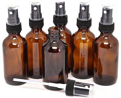 12 Amber 4oz Boston Round Glass Bottle Black Spray Fine Ribbed Mist Sprayer 60ml
