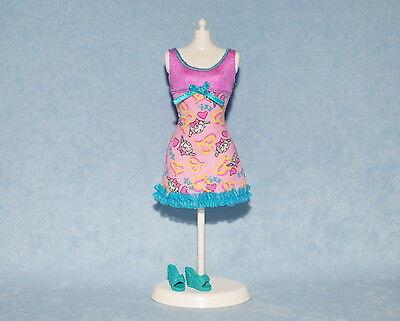 PINK Yellow Teal Sleeveless Genuine BARBIE Night Gown Sleep Wear w/ Shoes