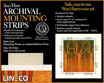 "Lineco 4"" Self Adhesive, 60 Acid Free Mounting Strips. Cut to size (bin2204)"