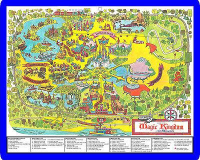 Walt Disney World Magic Kingdom theme park map from the 1970's metal sign