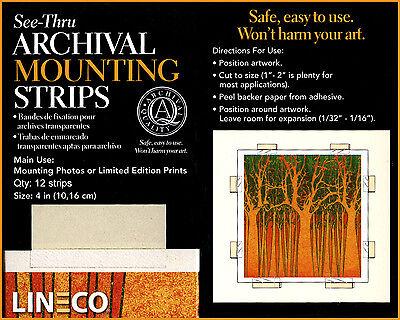 "Lineco 4"" Self Adhesive, 12 Acid Free Mounting Strips. Cut to size (bin-509-B)"
