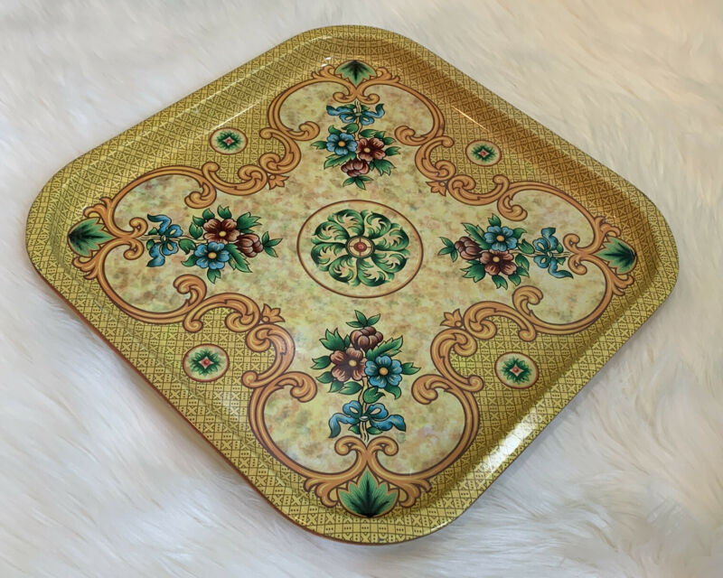 Vintage DAHER Square Floral Tin Decorative Tray Wall Decor Serving Tray Ware