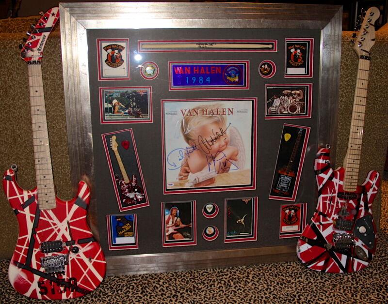 VAN HALEN 1984 signed autographed lp album guitar pick FRAMED PSA DNA EDDIE RARE