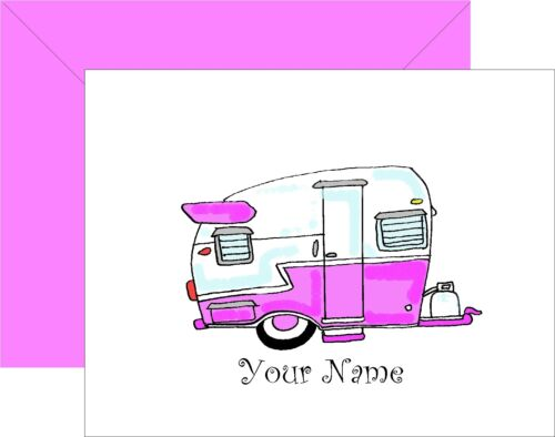Personalized Vintage Pink Camper Retro Note Cards Set of 8