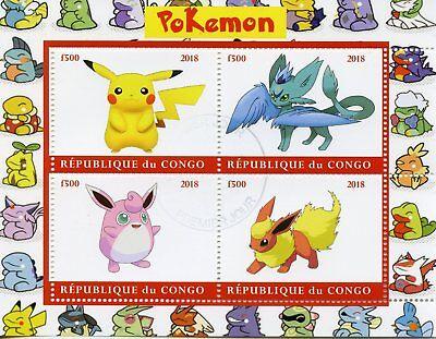 Congo 2018 CTO Pokemon Pikachu Flareon Wigglytuff 4v M/S I Stamps