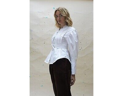 HOUSE OF SUNNY Refined White Shirt Cross Neck Top Stitch Tie SIZE 6 - RRP £55