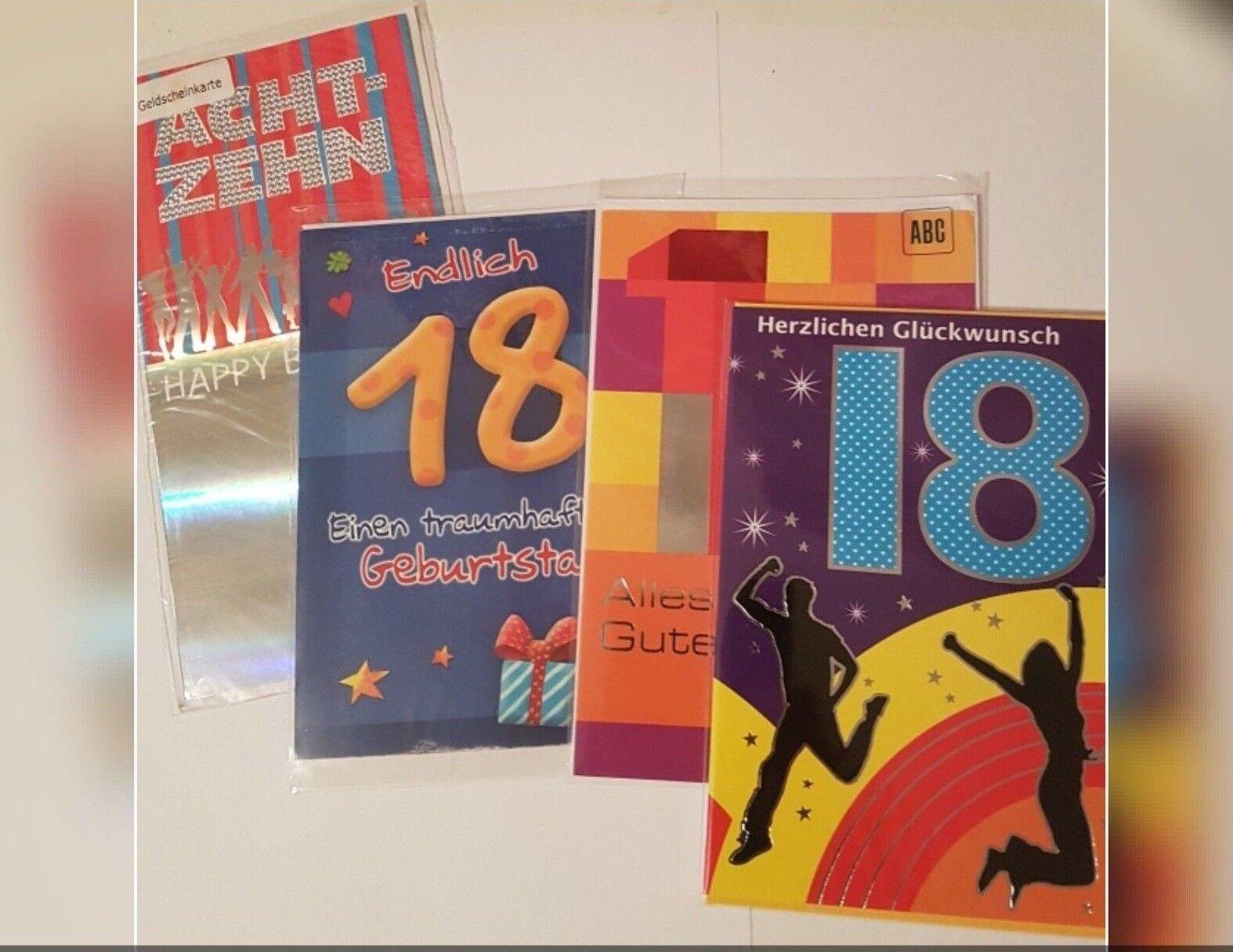 18 Jahre achtzehn Geburtstag Glückwunschkarten Grußkarte verschiedene Varianten