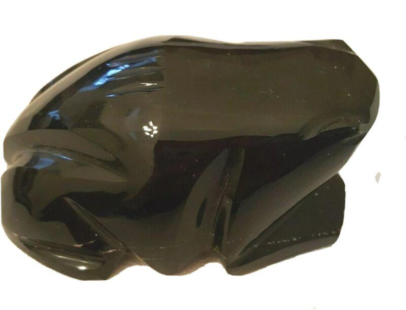 """Obsidian Frog Carved Black Gold Sheen Apx 4"""" Long"""