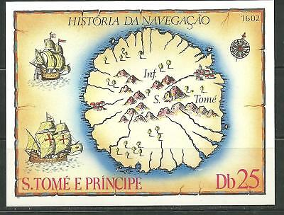 ST THOMAS AND PRINCE 540 MNH S/S MAP OF ST THOMAS AND PRINCE SCV 10.00