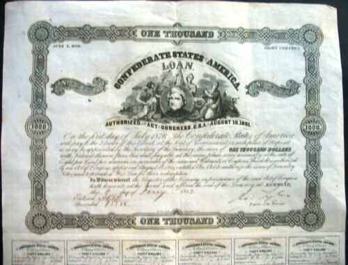 Confederate States of America $ 1000 loan + Coupons Richmond Jan 1863 USA bond .