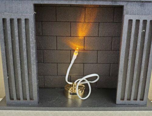 Dollhouse Miniature LED Battery Light Bulb AMBER on String for Fireplace 1:12
