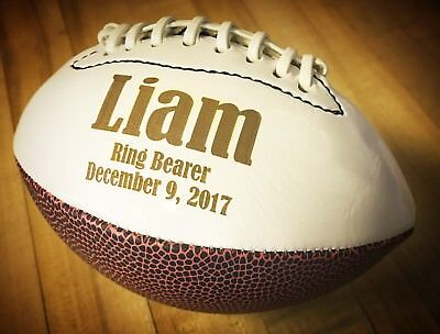 Ring Bearer Gift, Personalized Football, Sports Gift, Wedding Party Gift, Engrav - Ring Bearer Gift