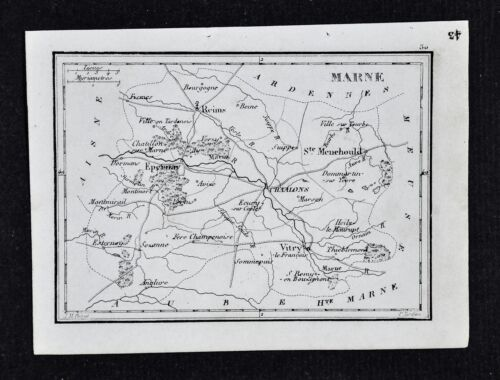 1833 Perrot Map - Marne - Vitry Epernay Reims Chaalons St. Menehould - France