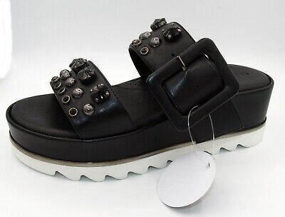 tizian Schuhe Damen Sandalen Plateau- Pantolette schwarz Leder Neu