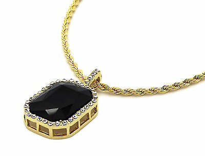 Black Vermeil Pendant - Mens 14k Gold Plated Iced Out Black Ruby Octagon Pendant Hip-Hop 24